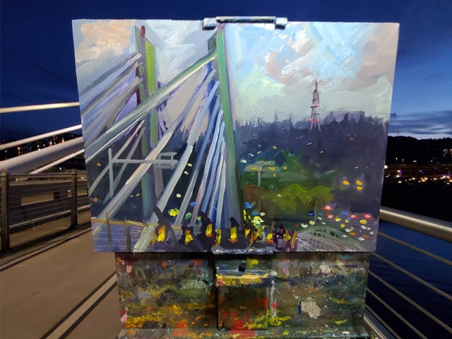 A plein air painting of the event by Jonathan Luczycki (courtesy of luczycki.com)